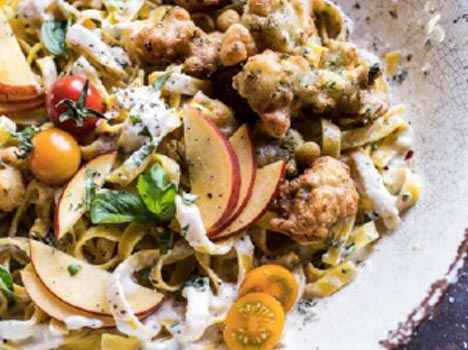 Goat Milk Fettuccine with Spicy Corn Fritters + Sweet Nectarine